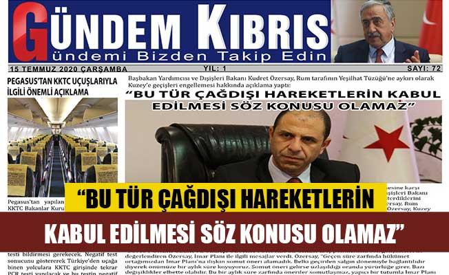 Gündem Kıbrıs Gazetesi'nde günün manşeti